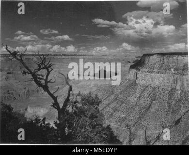 Grand Canyon HistoricTrail View  LOOKING EAST FROM NEAR TRAILVIEW, WEST RIM DRIVE.    CIRCA 1954.  . - Stock Photo