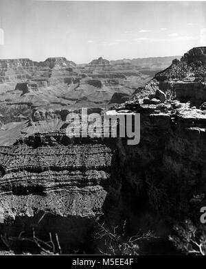 Grand Canyon Maer Point  SCENIC VIEW FROM MATHER POINT, SOUTH RIM, GRAND CANYON NATIONAL PARK, LOOKING EASTERLY - Stock Photo