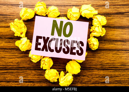 Word, writing No Excuses. Business concept for Stop Ban for Excuse written on sticky note paper on wooden background. - Stock Photo