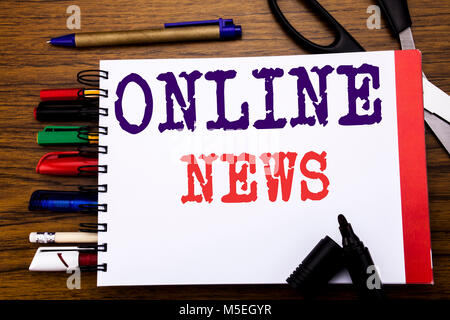 Handwriting Announcement text showing Online News. Business concept for Online Newspaper Article Written on notebook, - Stock Photo