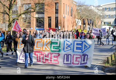 Brighton, UK. 23rd Feb, 2018. Students supporting the walkout by lecturers march in protest around the University - Stock Photo