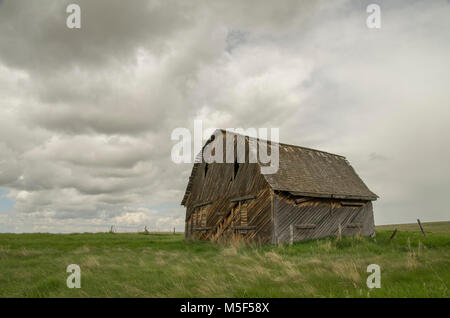 Alberta, Canada.  Old abandoned barn on the Prairies on an overcast spring day. - Stock Photo