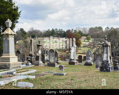 Old Oakwood Cemetery with headstones, gravestones and monuments established in the early 1800's for all faiths in - Stock Photo