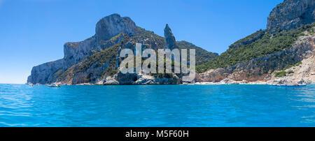 panorama of Aguglia pinnacle in the gulf of Orosei Sardinia Italy - Stock Photo