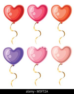 Collection of heart shaped balloons with golden ribbons different colors balloon vector illustration isolated on - Stock Photo