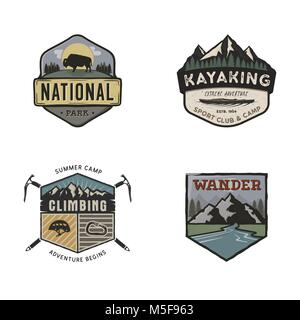 Set of vintage hand drawn travel logos. Camping labels concepts. Mountain expedition badge designs. Travel logos, - Stock Photo