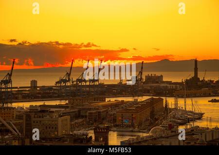 GENOA, ITALY, JANUARY 15, 2016: Sunset view of the city of Genoa, Italy/ Genoa landscape/ Genoa Skyline/ city landscape/ - Stock Photo