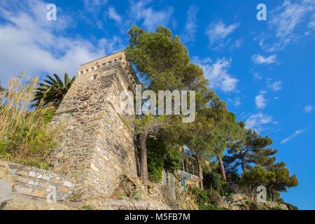 The old castle with clear blue sky at Zoagli, Genoa, (Genova), Italy. - Stock Photo