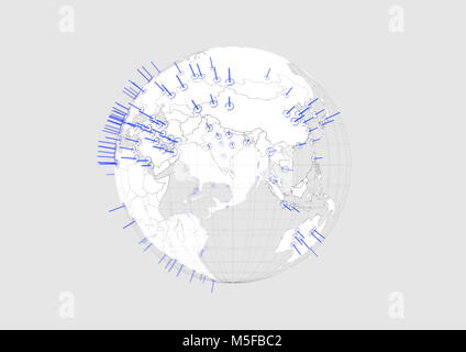 White world globe Eurasia map 3D illustration with blue graphic cities on white background with. - Stock Photo
