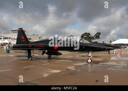 MIRAMAR, CALIFORNIA, USA - OCT 15, 2016: Black US Air Force Northrop T-38A Talon trainer jet plane from Beale 1st - Stock Photo