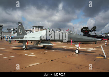 MIRAMAR, CALIFORNIA, USA - OCT 15, 2016: US Air Force Northrop T-38A Talon trainer jet from Randolph AFB on display - Stock Photo