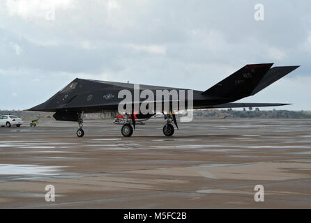 MIRAMAR, CALIFORNIA, USA - OCT 15, 2016: US Air Force Lockheed Martin F-117 Nighthawk stealth fighter jet taxiing - Stock Photo