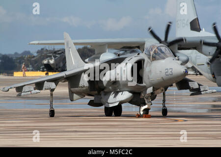 MIRAMAR, CALIFORNIA, USA - OCT 15, 2016: US Marines McDonnell Douglas AV-8B Harrier II jump jet on display at the - Stock Photo
