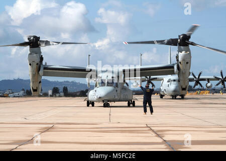 MIRAMAR, CALIFORNIA, USA - OCT 15, 2016: US Marines Bell Boeing V-22 Osprey aircraft about to taxi to the runway - Stock Photo