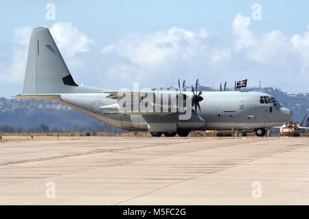 MIRAMAR, CALIFORNIA, USA - OCT 15, 2016: US Marines Lockheed C-130 Hercules cargo plane on the tarmac at the MCAS - Stock Photo