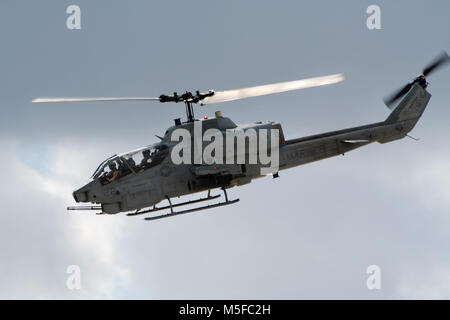 MIRAMAR, CALIFORNIA, USA - OCT 15, 2016: Bell AH-1 SuperCobra attack helicopter in flight during the MCAS Miramar - Stock Photo