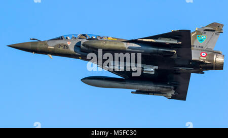 LEEUWARDEN, NETHERLANDS - MAR 28, 2017: French Air Force Dassault Mirage 2000 fighter jet plane in flight during exercise Frisian Flag.