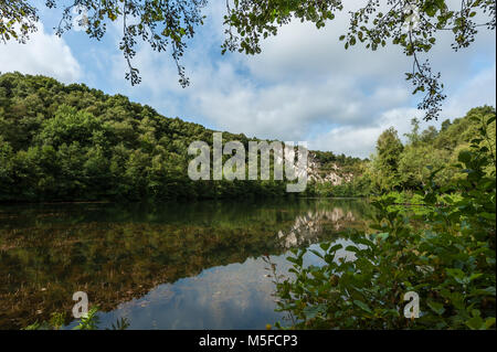 Lake in old quarry Mont Castre on a sunny day, Normandy France - Stock Photo