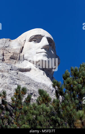 SD00011-00...SOUTH DAKOTA - Presedent George Washington carved into a mountainside at Mount Rushmore National Memorial. - Stock Photo
