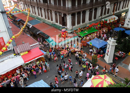Scene from Chinatown in Singapore at chinese new year - Stock Photo