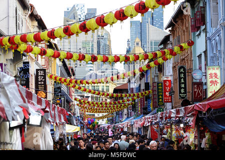 Street scene with lanterns from Chinatown in Singapore at chinese new year - Stock Photo
