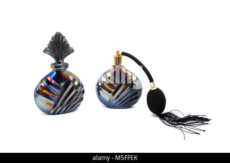 Vintage Oil Colour Perfume Atomiser And Bottle - Stock Photo