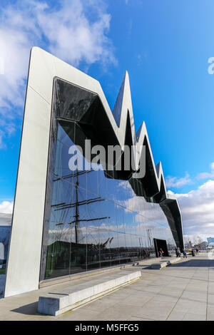 Front glass facade of the Riverside Transport museum with the reflection of the Glenlee, Anderston, River Clyde, - Stock Photo