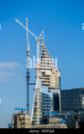 City of London changing skyline: the Scalpel under construction in Lime Street London EC3 insurance district near - Stock Photo