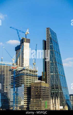 City of London changing skyline: concrete core of new financial district skyscraper 22 & 100 Bishopsgate under construction - Stock Photo