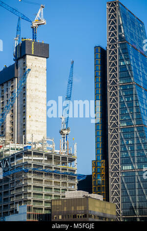 City of London changing skyline: concrete core of new financial district skyscraper 22 Bishopsgate under construction - Stock Photo