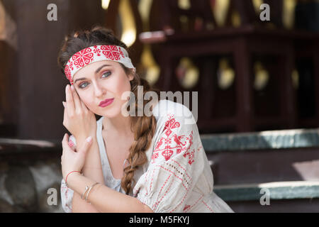 Russia, Moscow, August 27, 2017, the international festival of photography.Russian girl in national clothes - Stock Photo