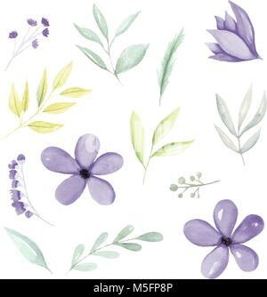 Purple watercolor botanical elements, flowers, leaves and branches hand drawn. Watercolor illustration hand drawn. - Stock Photo