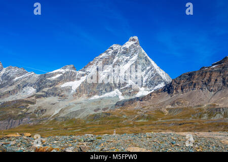 View of Cervino Mount (Matterhorn) from the cableway station of Cime Bianche Laghi 2814 mt., in Val D'Aosta,Italy - Stock Photo
