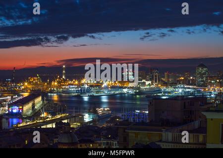GENOA (GENOVA), ITALY,  JANUARY, 24, 2017 - View of the port at night of Genoa (Genova), Italy - Stock Photo