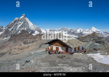 View of Cervino Mount (Matterhorn) on the west. In the background the Swiss mountains, seen from Plateau Rosà at - Stock Photo