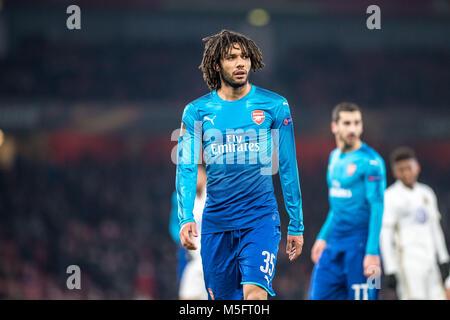LONDON, ENGLAND - FEBRUARY 22: Mohamed Elneny (35) of Arsenal during UEFA Europa League Round of 32 match between - Stock Photo