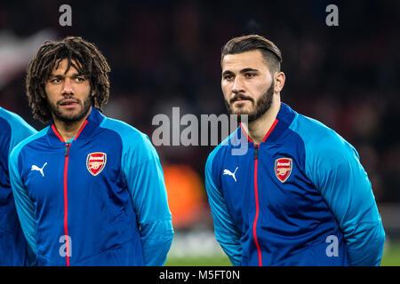 LONDON, ENGLAND - FEBRUARY 22: Mohamed Elneny (35) of Arsenal, Sead Kolašinac (31) of Arsenal during UEFA Europa - Stock Photo