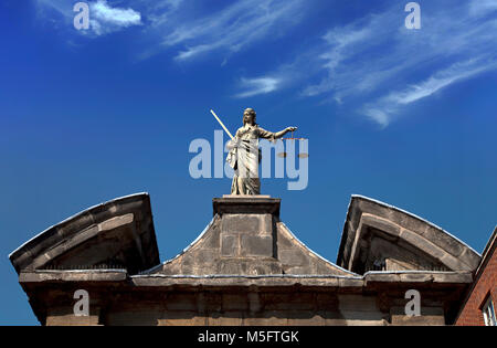 Sculpture of  (Scales of) Justice aka Iustitia, Justitia or Lady Justice (Latin: Iustitia, the Roman goddess of - Stock Photo