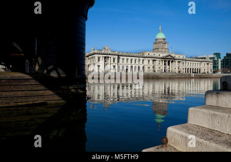The Custom House, A neoclassical 18th century building designed by James Gandon, Next to the River LIffey, Dublin - Stock Photo