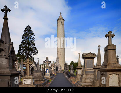 The Round Tower, commemorating the death of Daniel O'Connell, who had established the Glasnevin Cemetery in 1832. - Stock Photo