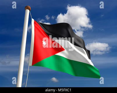 3D Jordan flag (with clipping path) - Stock Photo