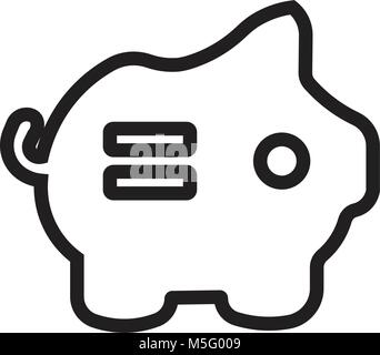 Piggy Bank icon line outline style isolated on white background for your web and mobile app design, vector illustration - Stock Photo
