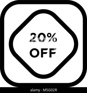Sale discount icons. Special offer price signs. 20 percent off reduction symbols. web buttons. Vector - Stock Photo