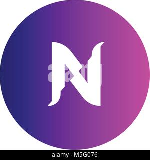 N logo vector font. Futuristic outline letter. High quality line single sign. Elegant creative white symbol on colorful - Stock Photo
