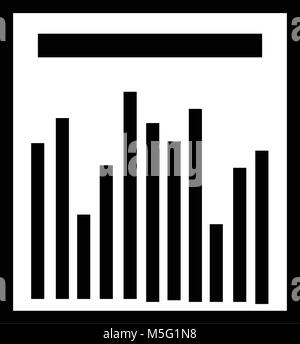 Statistics graph icon line outline style isolated on white background, the illustration is flat, vector, pixel perfect - Stock Photo