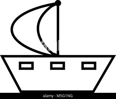 Ship line icon outline style isolated on white background, the illustration is flat, vector, pixel perfect for web - Stock Photo