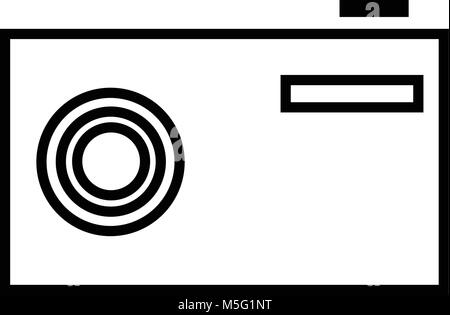 Camera icon line outline style isolated on white background, the illustration is flat, vector, pixel perfect for - Stock Photo