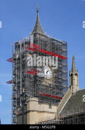 Big Ben, London's famous clock tower surrounded by scaffolding for major refurbishment work, March 2018. Southern - Stock Photo