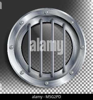 Porthole Vector. Round Silver Window With Rivets. Bathyscaphe Ship Metal Frame Design Element. For Aircraft, Submarines. - Stock Photo