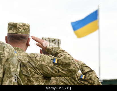 Ukrainian soldiers giving salute. Flag of Ukraine - Stock Photo